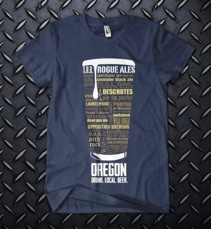Oregon state Craft Beer Shirt in Navy Blue