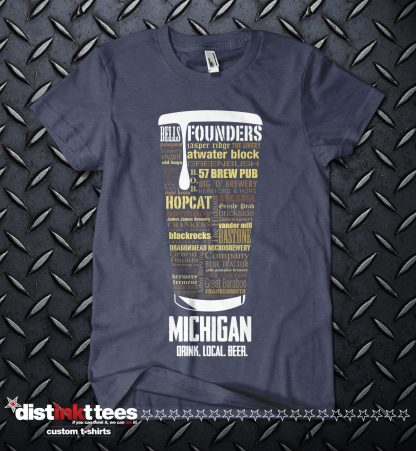 Michigan state Craft Beer Custom Shirt in Vintage Navy