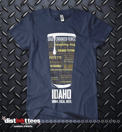 Idaho state Craft Beer Custom T-Shirt in Navy Blue