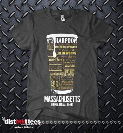 Massachusetts state Craft Beer Custom Shirt in Dark Heather