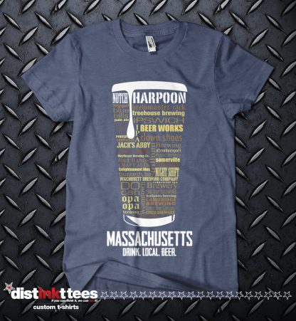 Massachusetts state Craft Beer Custom Shirt in Vintage Navy
