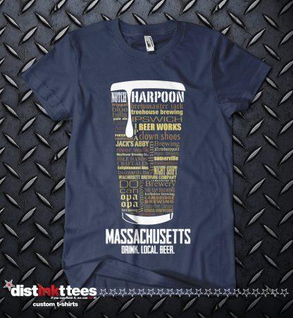 Massachusetts state Craft Beer Custom Shirt in Navy Blue