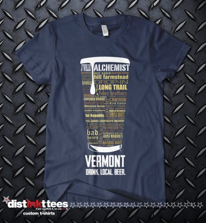 Vermont State Craft Beer Custom Shirt in Navy Designed by Distinkt Tees Ink