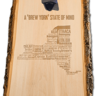 New York State Craft Beer laser engraved custom wooden wall mount bottle opener