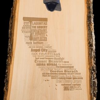 California State Craft Beer Laser Engraved Custom Wooden Wall Mount Bottle Opener
