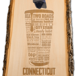 Connecticut State Craft Beer Laser Engraved Custom Wooden Wall Mount Bottle Opener