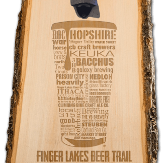 Finger Lakes State Craft Beer Laser Engraved Custom Wooden Wall Mount Bottle Opener