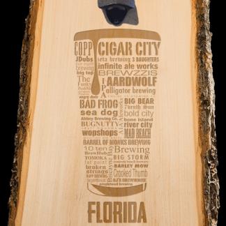 Florida State Craft Beer Laser Engraved Custom Wooden Wall Mount Bottle Opener