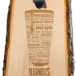 Illinois State Craft Beer Laser Engraved Custom Wooden Wall Mount Bottle Opener