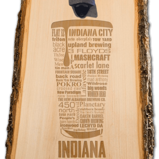 Indiana State Craft Beer Laser Engraved Custom Wooden Wall Mount Bottle Opener