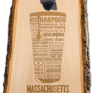 Massachusetts State Craft Beer Laser Engraved Custom Wooden Wall Mount Bottle Opener