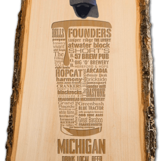 Michigan State Craft Beer Laser Engraved Custom Wooden Wall Mount Bottle Opener