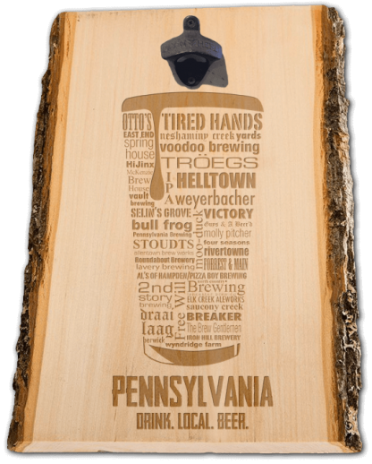 Pennsylvania State Craft Beer Laser Engraved Custom Wooden Wall Mount Bottle Opener
