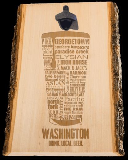 Washington State Craft Beer Laser Engraved Custom Wooden Wall Mount Bottle Opener