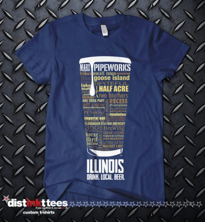 Illinois state Craft Beer Shirt in Navy Blue