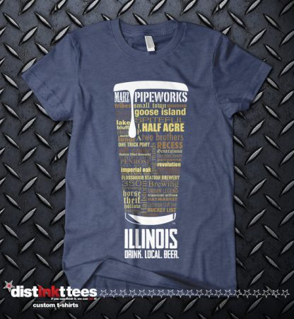 Illinois state Craft Beer Shirt in Vintage Navy