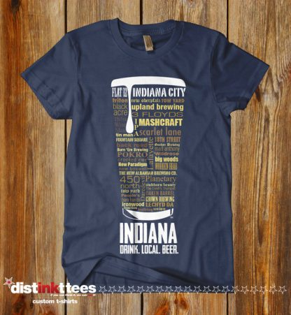 Indiana state Craft Beer Shirt in Navy Blue