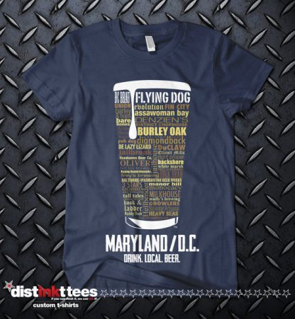 Maryland & Washington DC state Craft Beer Shirt in Navy Blue