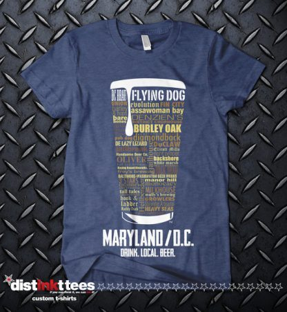Maryland & Washington DC state Craft Beer Shirt in Vintage Navy