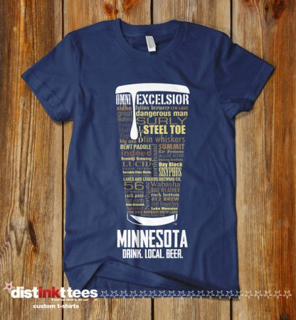 Minnesota state Craft Beer Shirt in Navy Blue