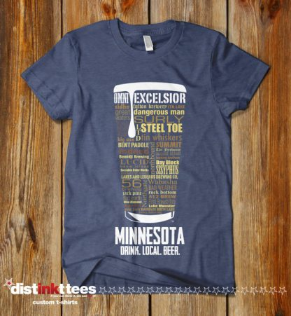 Minnesota state Craft Beer Shirt in Vintage Navy