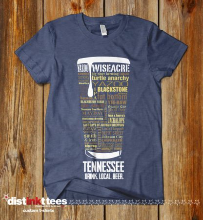 Tennessee state Craft Beer Shirt in Vintage Navy