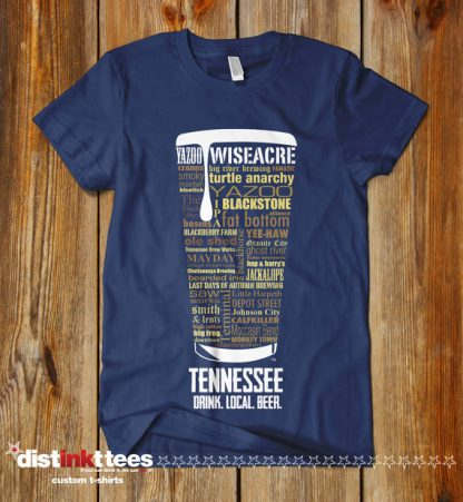 Tennessee state Craft Beer Shirt in Navy Blue