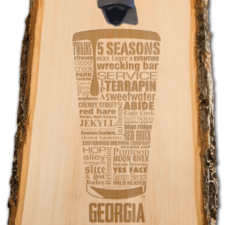 Georgia State Craft Beer Laser Engraved Custom Wooden Wall Mount Bottle Opener