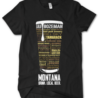 Montana State Craft Beers Custom Typography T-Shirt