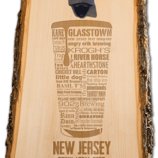 New Jersey State Craft Beer Laser Engraved Custom Wooden Wall Mount Bottle Opener