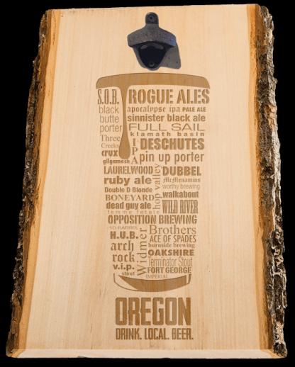 Oregon State Craft Beer Laser Engraved Custom Wooden Wall Mount Bottle Opener
