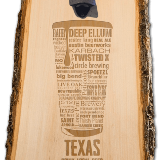 Texas State Craft Beer Laser Engraved Custom Wooden Wall Mount Bottle Opener