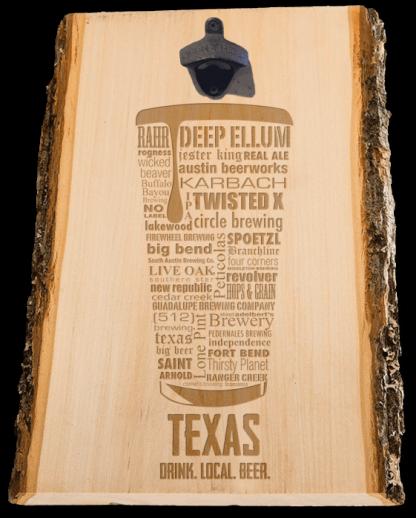 Texas State Craft Beer Laser Engraved Custom Wooden Wall Mount Bottle Opener
