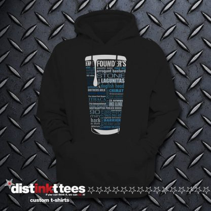 State Craft Beers Hoodie Sweatshirt with Blue Typography