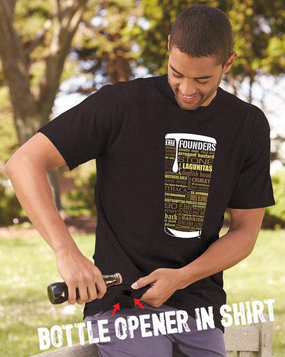Craft Beer Bottle Opener Custom T-Shirt in Black