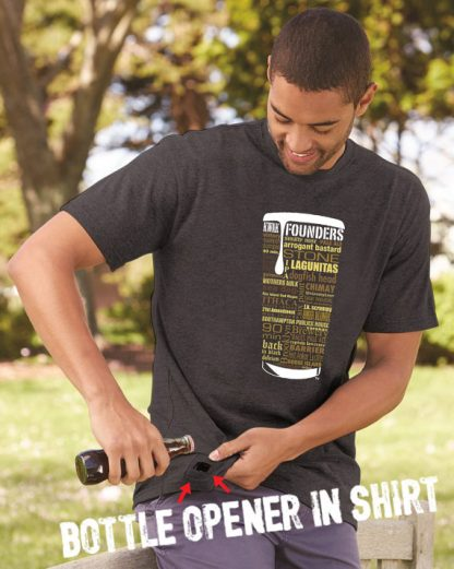 Craft Beer Shirt with Bottle Opener in Dark Heather Gray