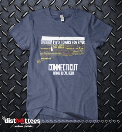 Connecticut state Craft Beers Shirt in Vintage Navy