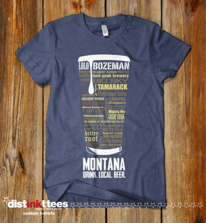 Montana State Craft Beers Shirt in Vintage Navy