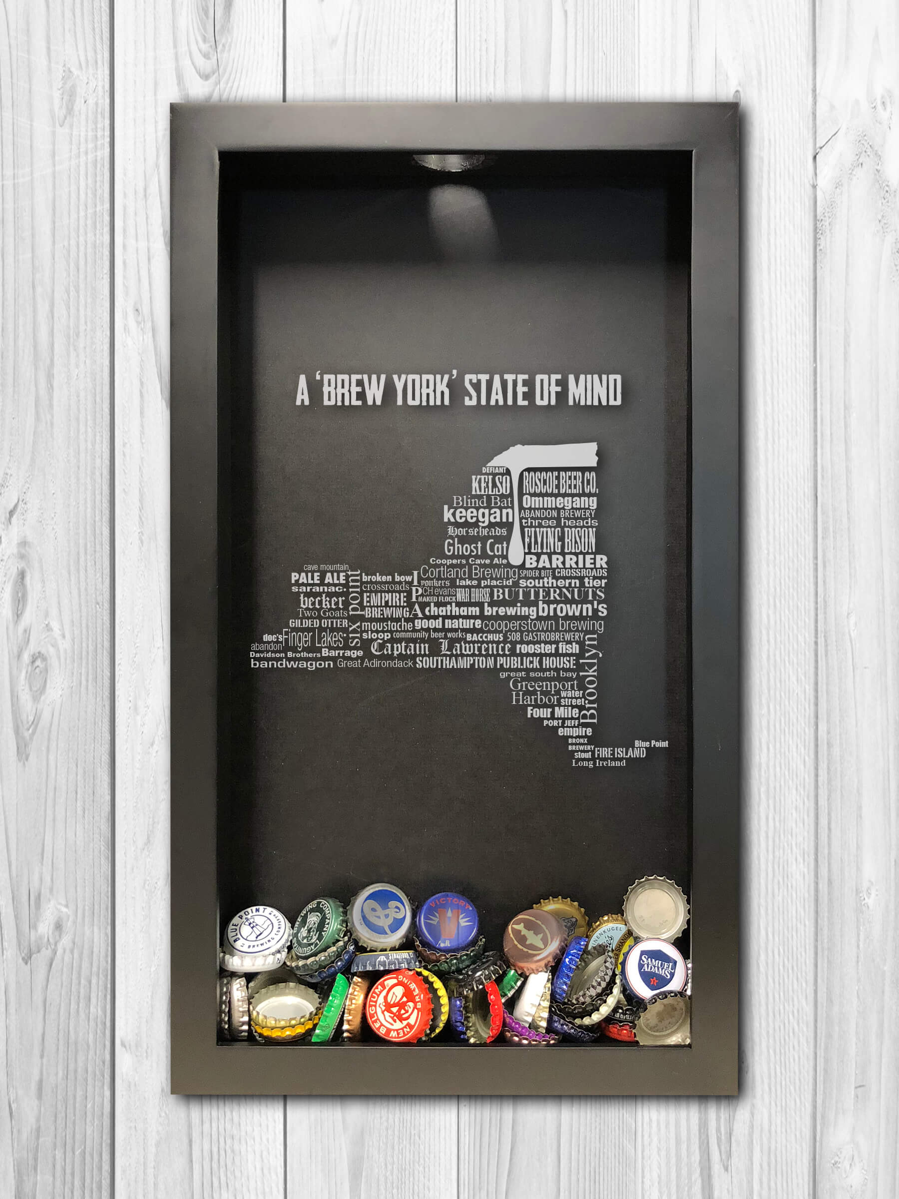 New York state of mind Local Craft Beer Breweries Custom Engraved Shadow Box Beer Cap Collector