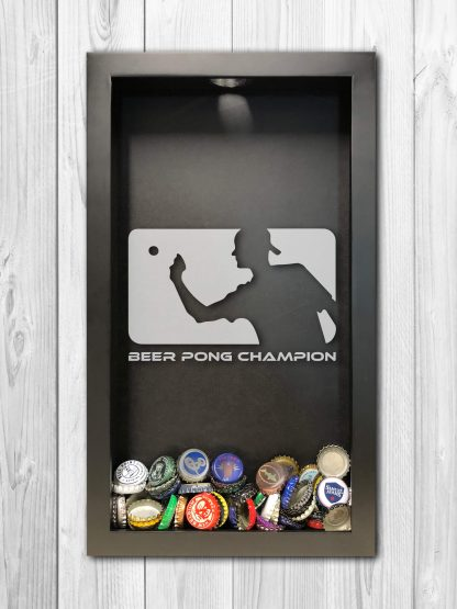 Beer Pong Champion Laser Engraved Shadow Box Beer Cap Collector