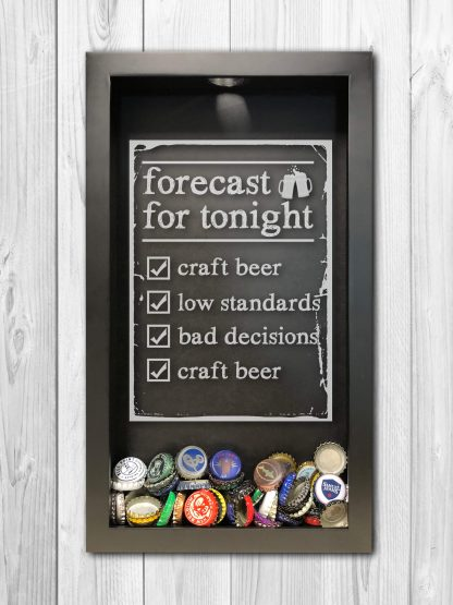 Forecast for Tonight Craft Beer Laser Engraved Shadow Box Beer Cap Collector