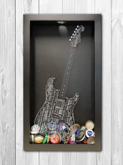Laser Engraved Custom Designed Guitar Shadow Box Beer Cap Collector