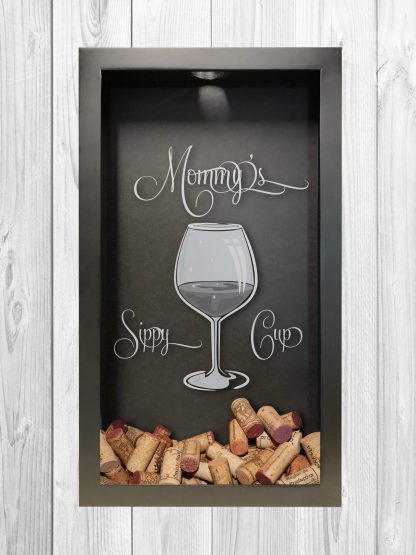 Mommy's Sippy Cup Laser Engraved Wine Cork Collecting Shadow Box