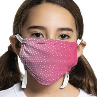 Children's protective face mask with pink polka dot design