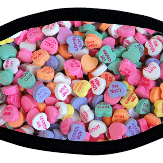 Protective face mask with candy heart design