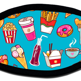 Protective face mask with cartoon food design