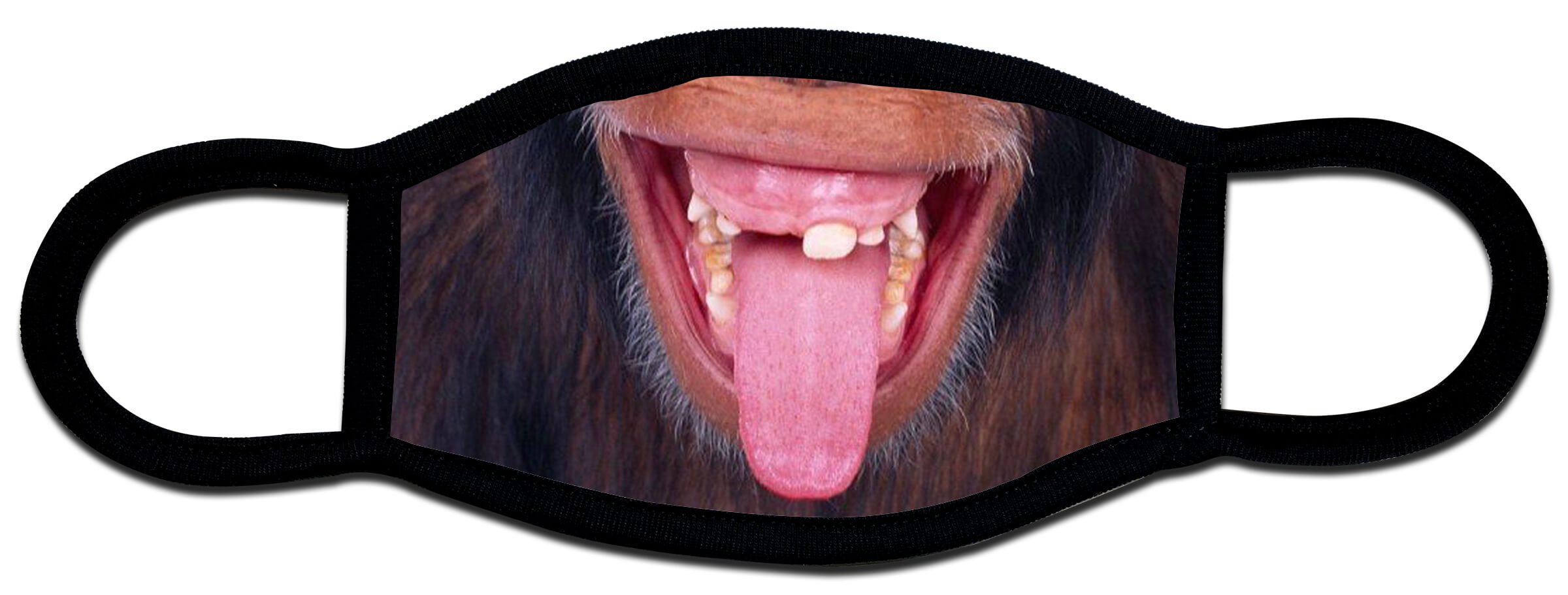 Protective face mask with chimp tongue design by Local Tees Long Island